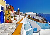 GREECE OIA SANTORINI 2 NEW A3 CANVAS GICLEE ART PRINT POSTER