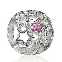 Star Design Silver Rhinestone Bead Diy Fit 925 Sterling European Charm Bracelets