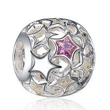 Star Design Silver Rhinestone Bead Diy Fit 925 Sterling European Charm Bracelets