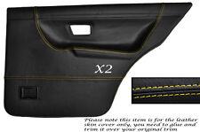 YELLOW STITCH 2X REAR DOOR CARD SKIN COVERS FITS VW GOLF MK2 II JETTA 83-92 5DR