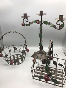 Beauty & The Beast Styled Rose Covered Metal Baskets Candelabra Shabby Chic