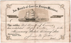 Preprinted certificate of contribution for Missionary Packet, Morning Star, 1856