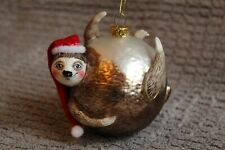 Glass Christmas Tree Hanging Sloth with Santa Hat Bauble Decoration