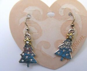 Brighton Twinkle Tree Earrings- silver - crystals - gold star Christmas