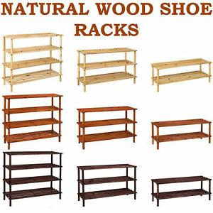 2,3,4 Tier Natural Wood Shoe Rack Organiser Storage Shelf Footwear Wooden Stand