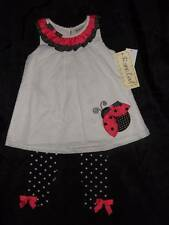 NWT RARE TOO! white black pink ladybug top black white polka dot leggings 24 mos