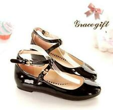 Womens Patent Leather Ankle Strap Round Toe Flats Pumps Mary Janes Lolita Shoes