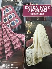 """Leisure Arts """"(3) Easy Crochet Afghans- 4-Ply Doubled"""" - Leaflet -New - 1990"""
