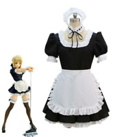 Game Fate Stay Night Saber Cosplay Costume Girls Sexy Maid Dress