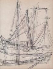 JEANETTE WELTY CHELF Pen Drawing BOAT RIGGING ABSTRACT IMPRESSIONISM  c1960