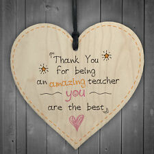 Teacher Leaving Gift Wooden Heart Plaque End of Term Present Thank You Wall Sign