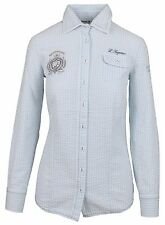 L' ARGENTINA Damen Bluse Shirt Polo Größe 38 M 100% Baumwolle Gestreift Blau NEU