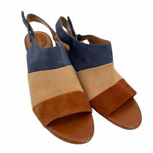 Clarks Womens Multicolor Ralene Shine Suede Slingback Heel Sandals Size US 9M