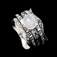 Rainbow Moonstone Ring 925 Sterling Silver Spinner Meditation Statement Ring s29