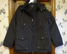 NWT Lauren Ralph Lauren Women's Fur Hooded Down Jacket Coat Black Size M