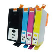 4X HP 920XL Reman Ink Cartridge(B C Y M) W/Chips FOR HP Officejet 6000,6500,7000