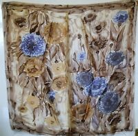 BARGAIN!!! VINTAGE HAND ROLLED BROWN FLORAL HEAD ~ SQUARE~ SCARF # 244#