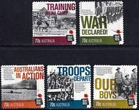 Australia 2014 Centenary of WWI  Complete Set of Stamps P Used S/A Variety