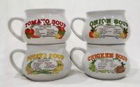 Set 4 Vintage Recipe Soup Mugs Cups Bowls (Tomato, Chicken, Potato & Onion)