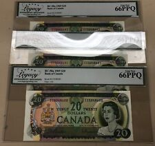 Lot of 3 Consecutive Serial #'s - 1969 Bank of Canada $20 - Legacy Gem New 66PPQ