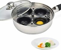 Modern Innovations Stainless Steel 4 Egg Non Stick Egg Poacher