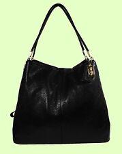 COACH 24621 MADISON PHOEBE Black Leather Satchel Shoulder Bag Msrp $398.00