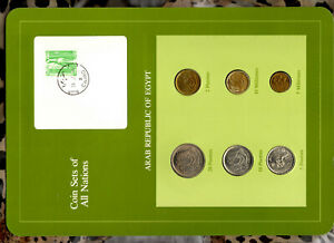 Coin Sets of All Nations Egypt 1973-1980 UNC 5 Piastres 1979 5 Milliemes 1975