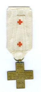 GENEVA CROSS 1870-1871, EMBROIDERED RED CROSS RIBBON (FRANCE)