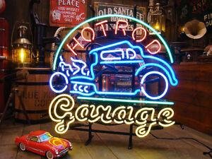 "24""x20""Hot Rod Garage Open Neon Sign Light Tiki Bar Pub Motel Wall Hanging Gift"