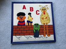 Vintage Completed Finished Needlepoint Framed Sesame Street Bert Ernie Big Bird