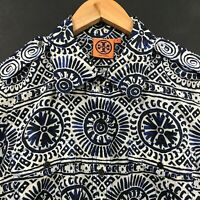 Tory Burch Women's Blue Print Long Sleeve Button Up Shirt Cotton Blouse Top sz 8