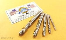 Drill Hog® USA 5 Pc Left Handed Drill Bit Set Left Hand Drills Lifetime Warranty
