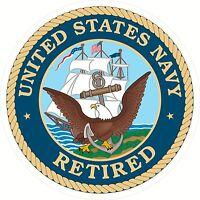 "USA United States Of America Navy Retired Decal Window Bumper Sticker 4"" Round"