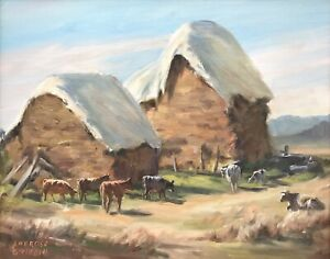 """Original Oil Painting by Ambrose Sylvester Griffin """"Hay Stacks and Cows"""""""