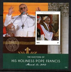 STAMPS - ST-KITTS AND NEVIS - MINIATURE SHEET - POPE - ELECTION - FRANCIS - 2013