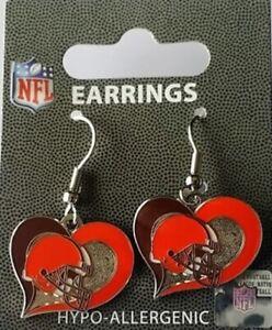 BRAND NEW Cleveland BROWNS NFL - Swirl Heart Dangle Earrings