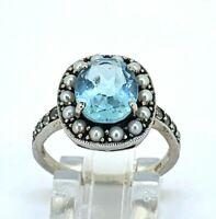 Ring Blau Topas & Saat Perlen  925er Silber   ANTIK STYLE    # 54
