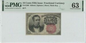 Fifth Issue 10 Cents Fractional FR# 1266 PMG 63 CH Unc Short Thick Key