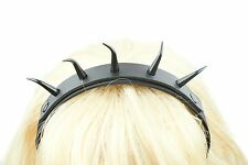 Black Horn Twisted Spikes Genuine Leather  Top Hair Headband Gothic Cosplay