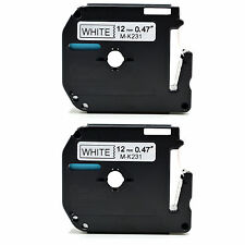 2 X hermano compatible mk-231 12mm x8m Cinta Para P-touch pt-55 Pt-65 Pt-70 pt-110