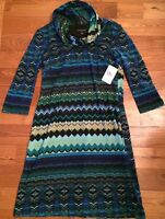 NWT Womens PERCEPTIONS NEW YORK Green Blue Cowl Neck Light Sweater Dress Small S