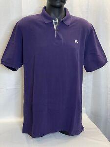 Burberry Brit Nova Check Plaid Neck Short Sleeve Polo Shirt Golf SZ XXL Purple