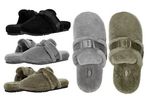 Authentic UGG Mens Fluff It Cozy Slippers Shoes Black Olive Green Metal New