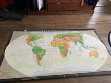 More details for large vintage 1940's german pull down roll up school map canvas world colour