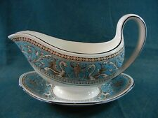 Wedgwood Florentine Turquoise W2714 Gravy Boat on Attached Base