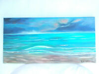 Original Acrylic Painting Seaside Ocean Wave Seascape 10x20 Stretched Canvas Art