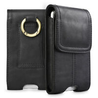 Cell Phone Vertical Genuine Leather Carrying Pouch Case Cover Belt Loop Holster