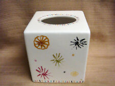 SQUARE CERAMIC TISSUE BOX COVER - White w/ Colorful Splashes by OUR OWN IMAGE