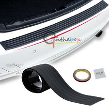 Black JDM Rear Bumper Guard Protector Trim Cover Sill Plate Trunk Rubber Pad Kit