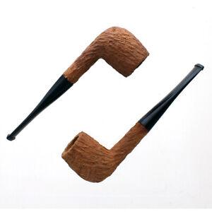 Unfinished Sandblasted Briar Tobacco Pipes - Straight Billiard - 2pk